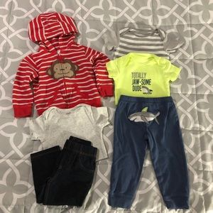 2 Baby Boy Carter's Outfits - 6 pieces Size 18 Mo